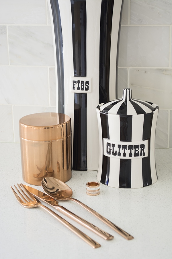 Christmas Presents: Jonathan Adler canisters, CB2 copper flatware, Michael Kors ring