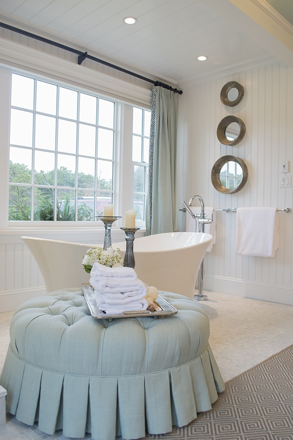 @deltafaucet fixtures in the gorgeous master bathroom of the 2015 HGTV dream home on Martha's Vineyard - Cuckoo4Design