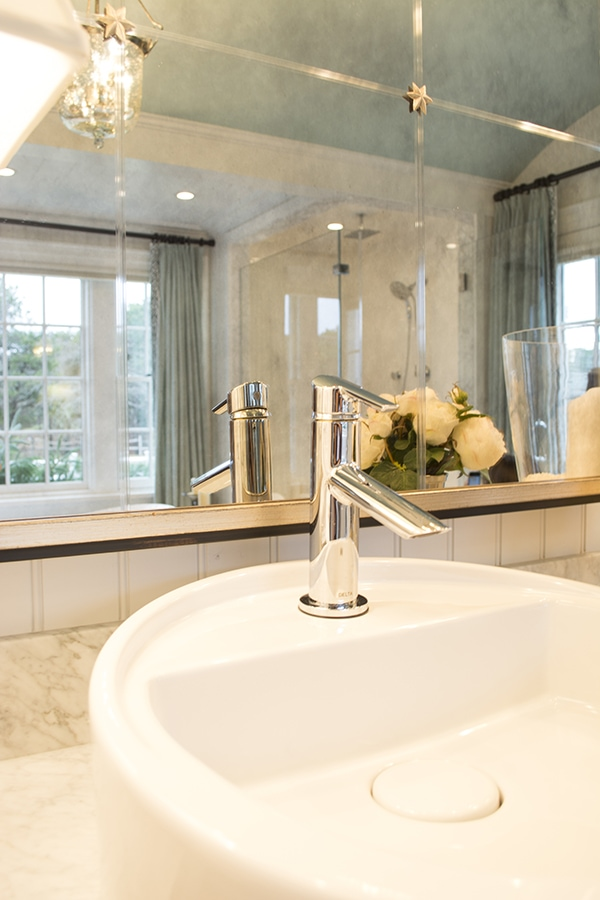 @deltafaucet fixture in the gorgeous master bathroom of the 2015 HGTV dream home on Martha's Vineyard - Cuckoo4Design