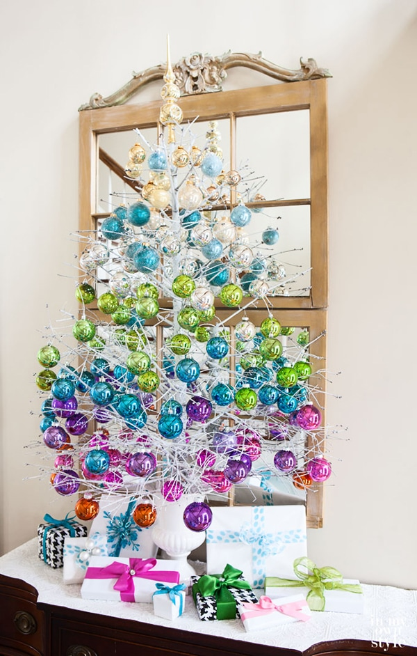 gorgeous colorful tree made from a dead Christmas tree