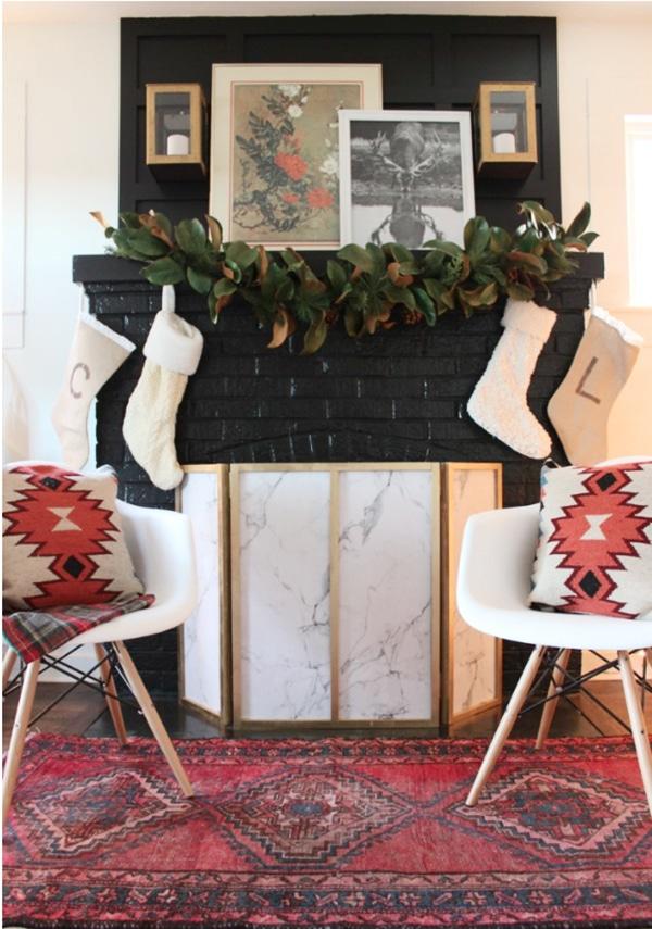 Boho Chic Christmas fireplace mantel