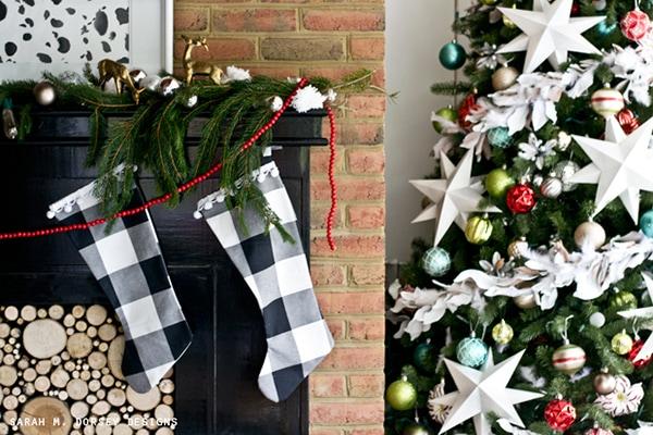 black Christmas fireplace mantel