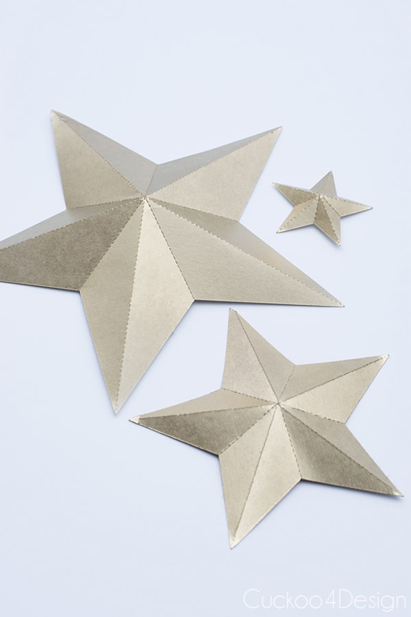 How to make gold folded 3D stars