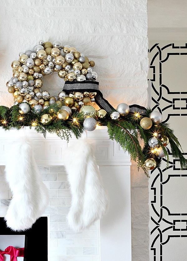Metallic Mixed Glam Fireplace Mantel