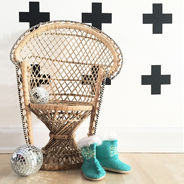 vintage wicker doll chair