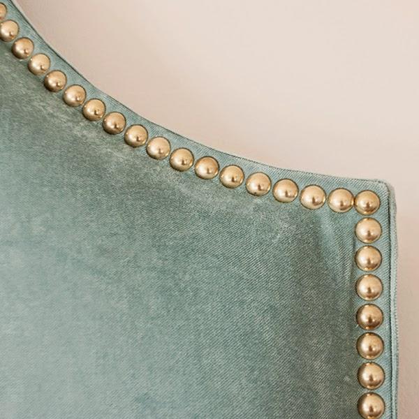 DIY turquoise velvet headboard