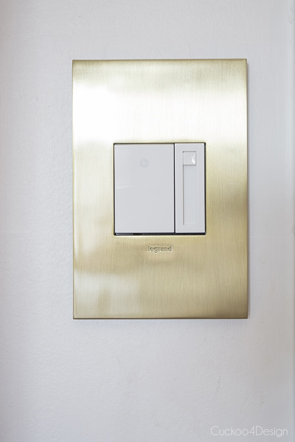 Legrand Adorne Brushed Brass switch plate and dimmer