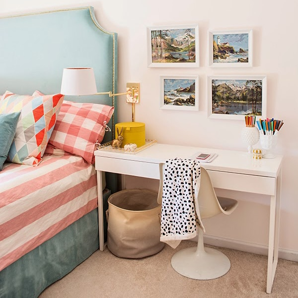 turquoise, white and gold girl's bedroom