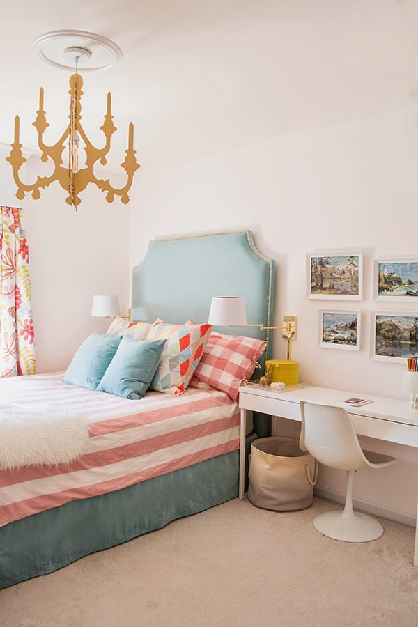 turquoise, pink and gold girls room