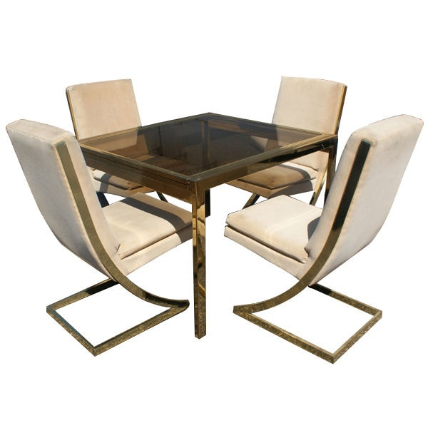 Milo Baughman brass dining table set