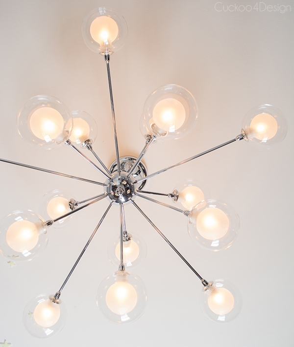 Silver sputnik ceiling fixture for boys room