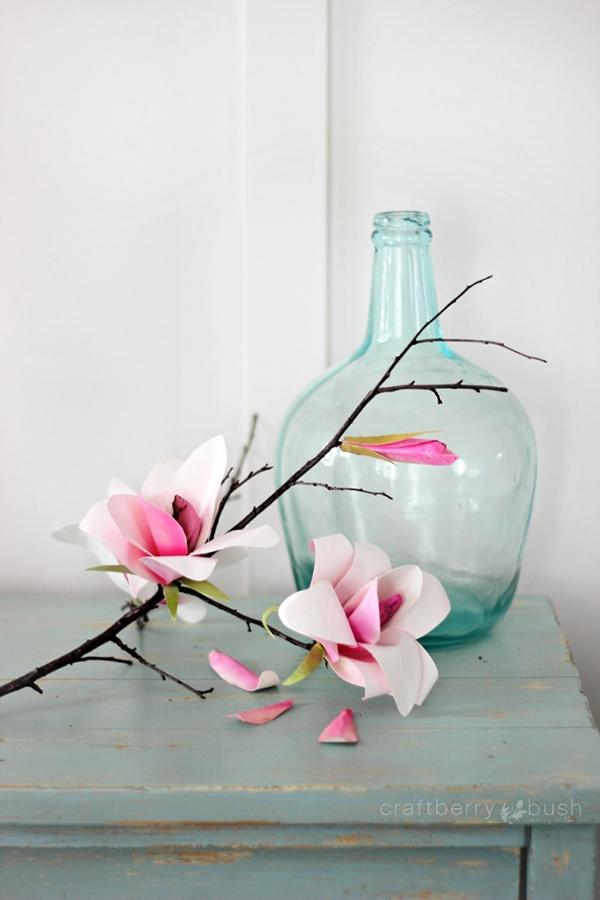 Watercolor paper magnolia flowers