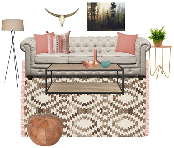 eclectic blush living room moodboard