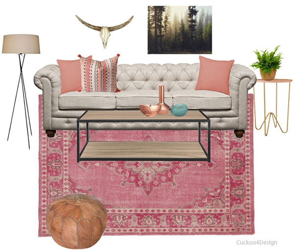 eclectic blush living room moodboard | Cuckoo4Design
