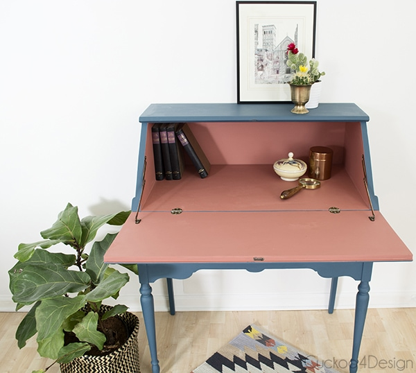 Annie Sloan Aubusson Blue and Scandinavian Pink Secretary Desk