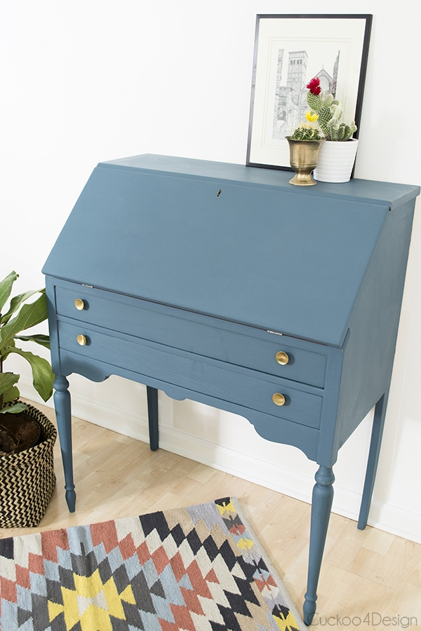 Annie Sloan Aubusson Blue and Scandinavian Pink Secretary Desk makeover
