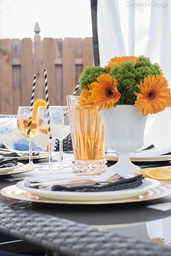 Orange, blue, black and white patio design