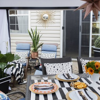 stylish black and white cabana patio - Cuckoo4Design