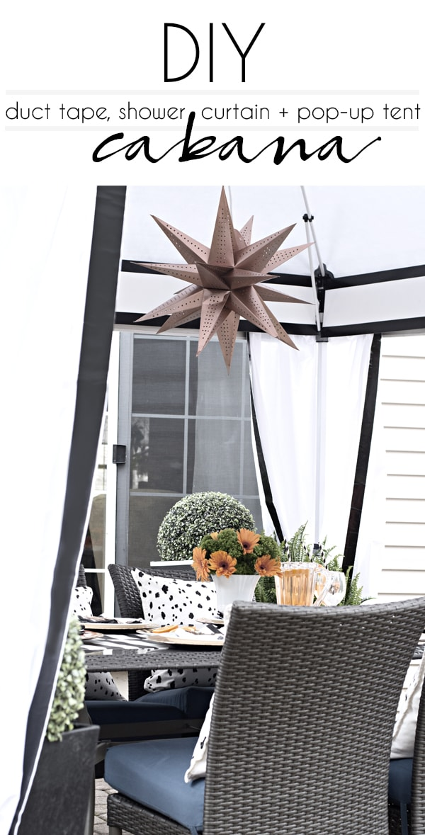 I used shower curtains and duct to transform a pop-up tent into a chic black and white cabana