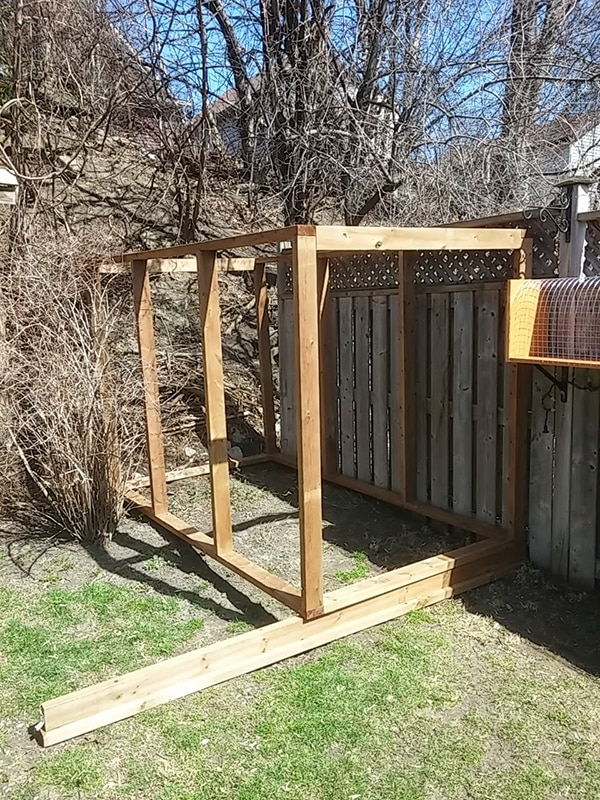 beginning of a wooden outdoor structure