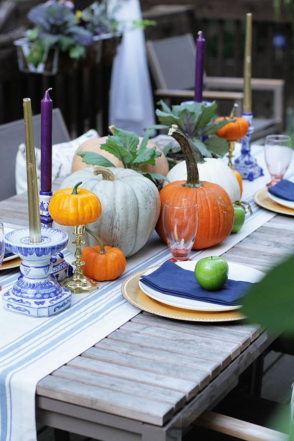 purple, orange and blue fall table setting