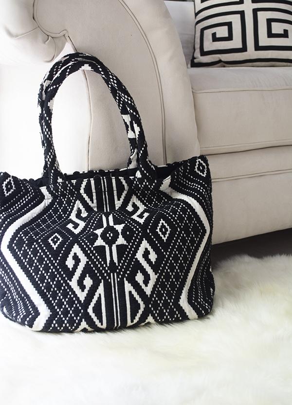 black and white boho bag
