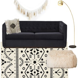 family room with pullout couch moldboard - Cuckoo4Design
