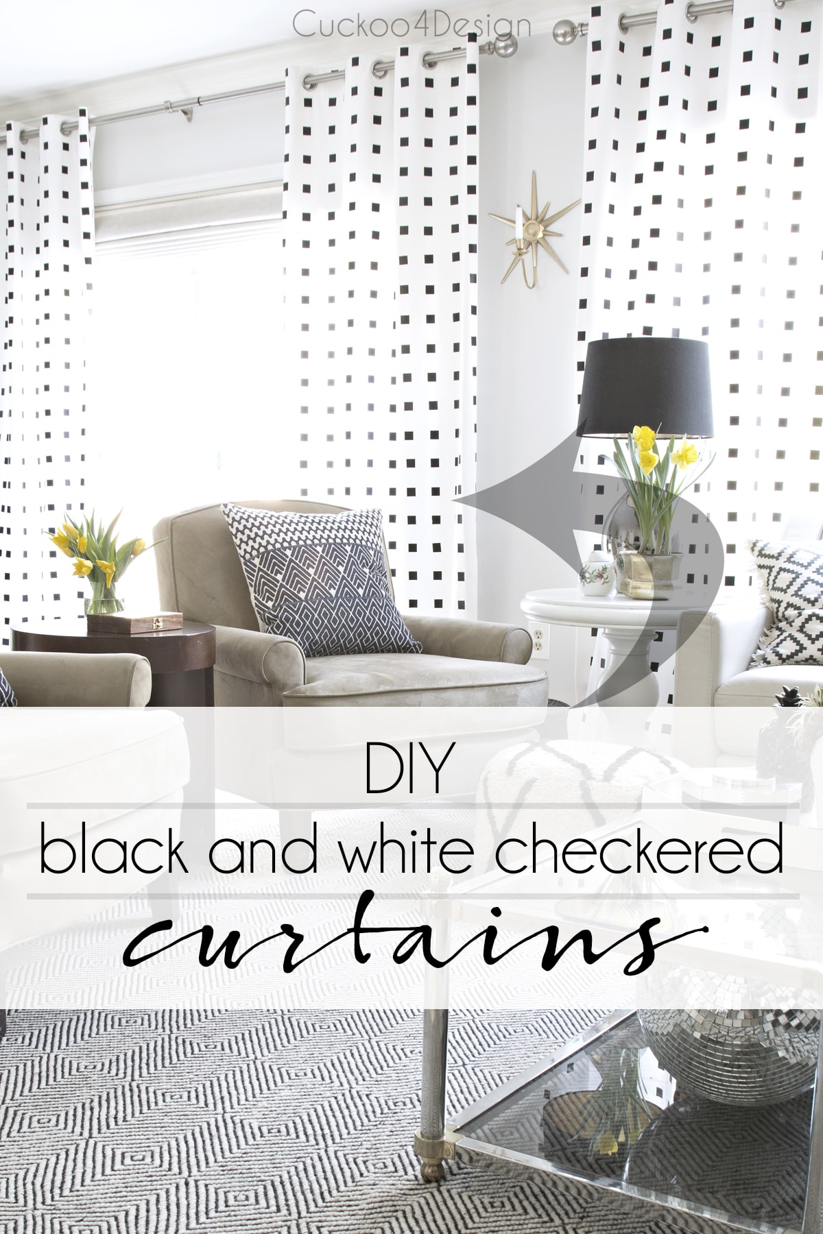 how to make modern black and white checkered curtains