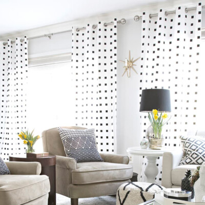 DIY black and white checkered curtains