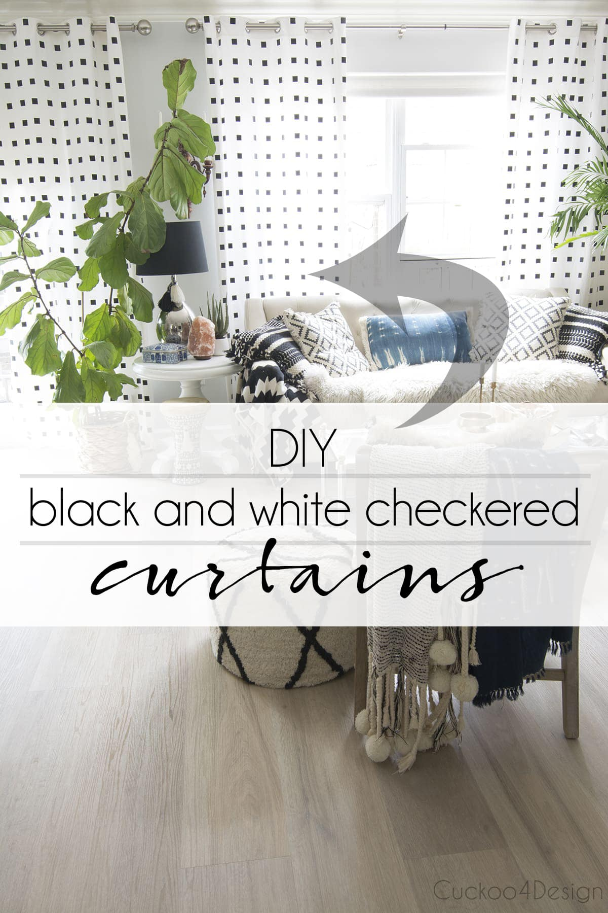 DIY back and white checkered curtains