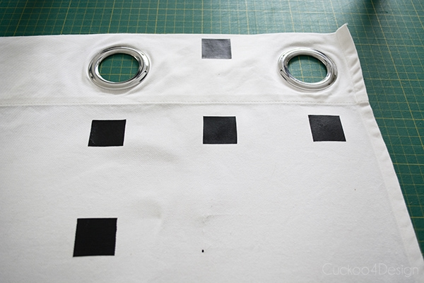 starting out the DIY black and white checkered curtains