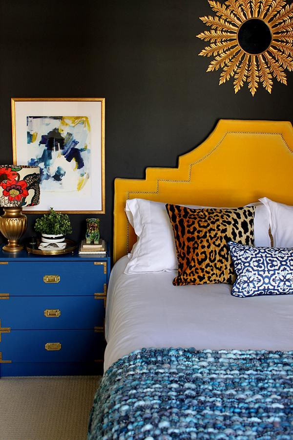 colorful glam bedroom with black walls - Cuckoo4Design