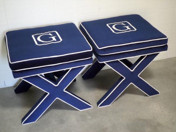 monogrammed velvet x-benches