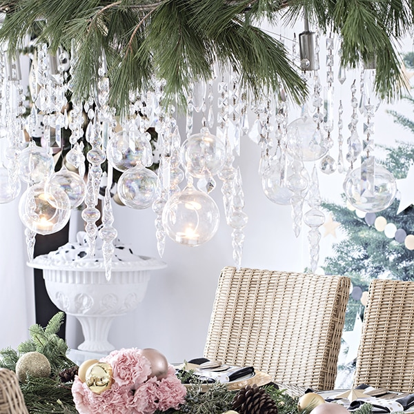 Christmas dining room dripping with ornaments and crystals