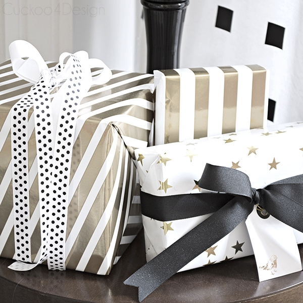 gold and white wrapped presents