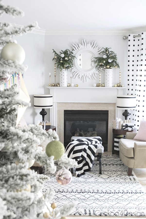 white, pink and gold Christmas living room mantel