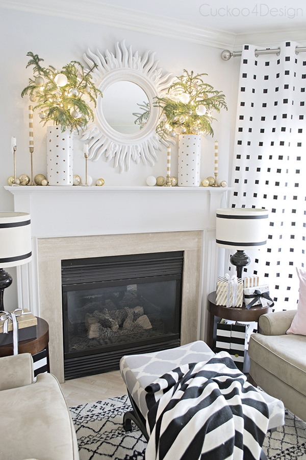 gold and white Christmas living room mantel