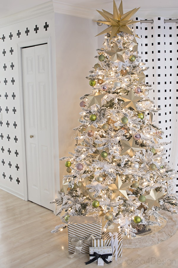 flocked faux Christmas tree with a golden glow