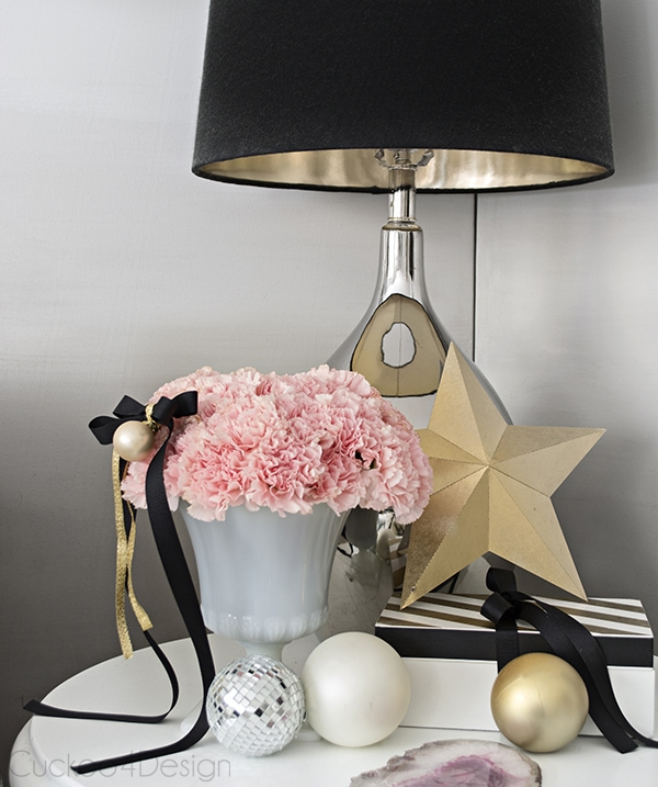 pink flowers for Christmas decor