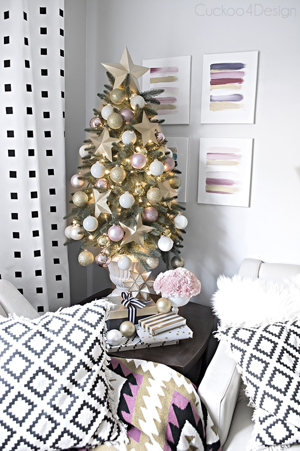 elegant blush, white, gold, black and white faux Christmas tree