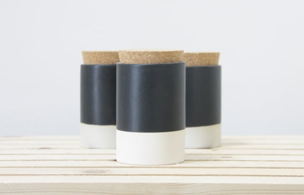 handmade canisters with cork lid