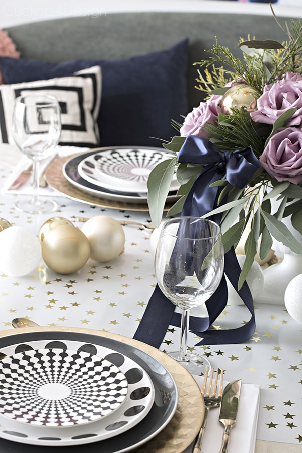 Christmas table setting with graphic patterns