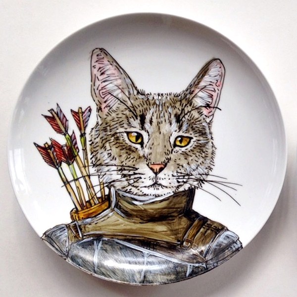 custom cat plate artwork