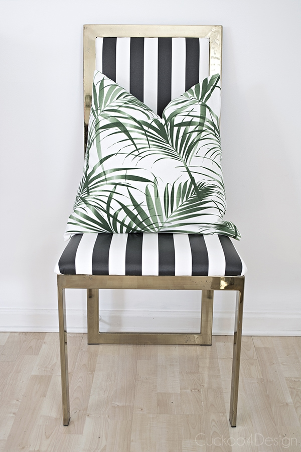 plastic coated Ikea Sofia fabric brass chair makeover - Cuckoo4Design