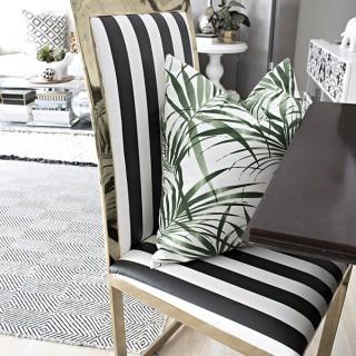 plastic coated Ikea Sofia fabric brass chair makeover - Cuckoo4Design
