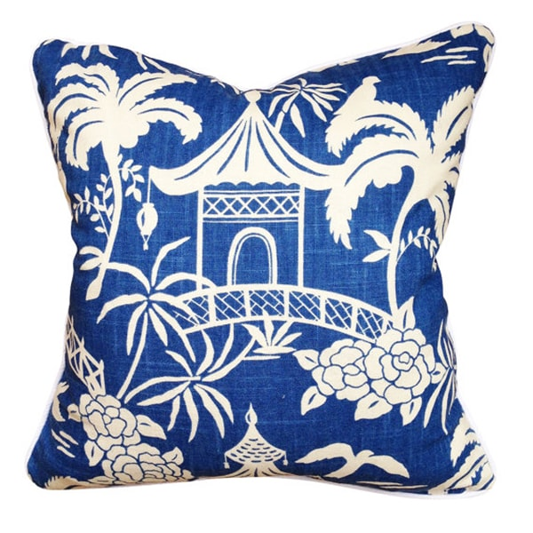 blue chinoiserie pillow