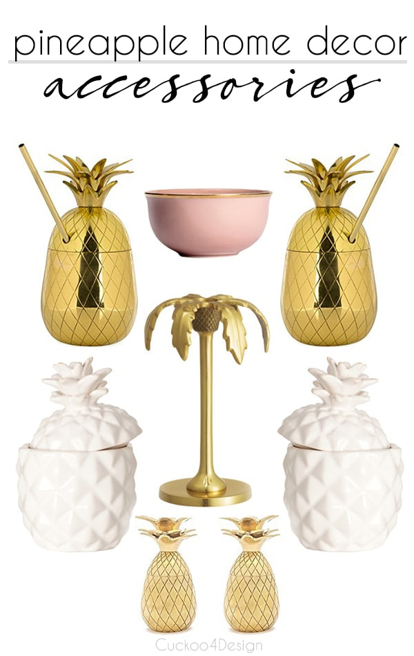 pineapple home decor accessories | pineapple decor | pineapple candles | pineapple candle holder | decorating with pineapples | brass pineapple | I love pineapples | white pineapple