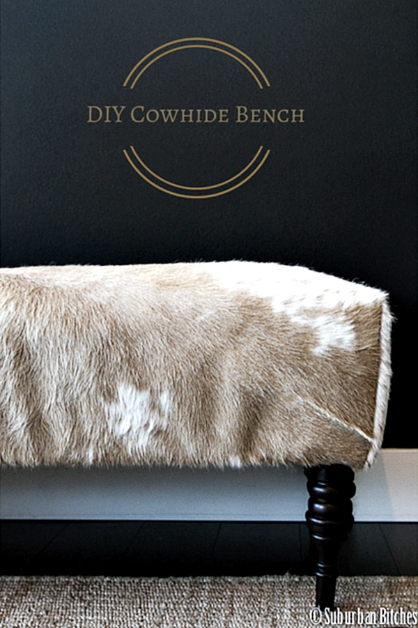 DIY cowhide bench