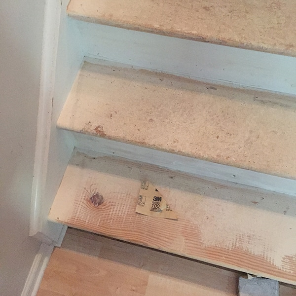 sanding paint of stair treads that were carpeted