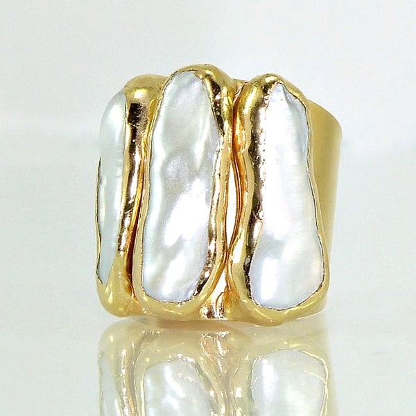 pearl and gold statement ring